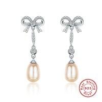 925スターリングシルバーちょう結び真珠のイヤリング女性の結婚式ファインジュエリー