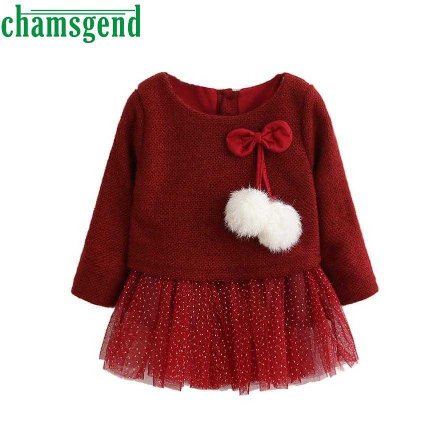 Платье для малышей Хлопковое трикотажное платье-пачка принцессы с длинными рукавами и бантом для маленьких девочек Одежда для новорожденных девочек зима 2018 г. Apr 24