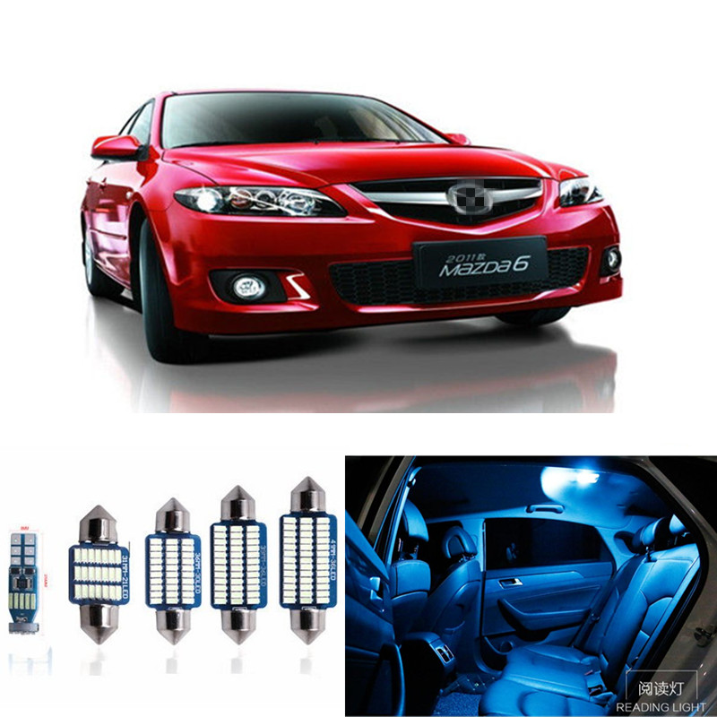 13pcs Car LED Light Bulbs Interior Package Kit For 2014-2017 Mazda 6 Map Dome Step/Courtesy License Plate Lamp white ice blue car 5630 smd interior map dome trunk light led bulb white led kit package for volvo 850 1991 1995 with install tools