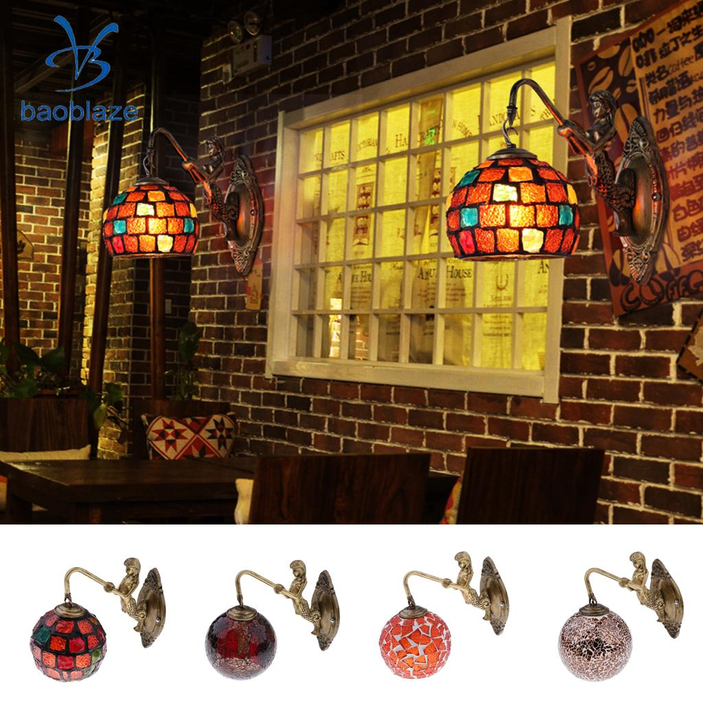 Wall Lamp Shade Sconces Stained Glass Corridor Light E27 Gallery Wall Lights Shade Passage Hallway Light