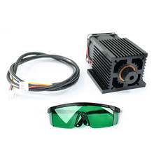 5.5W Laser Head Blue Light Module Diode For CNC DIY Engraving Cutting Machine 450nm Focus Power DC 12V with Protective Glasses blue laser head engraving module wood marking diode with heat dissipation fan glasses circuit board for engraver mayitr