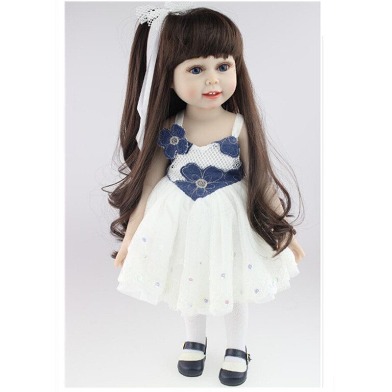Novelty 18 Inch/45 cm Soft American Girl Dolls  Princess Doll with Dress,Cute Lifelike Baby Toys for Children Gift Free Shipping princess dress for 18 inches american girl doll children bjd baby born dolls handmade accessories toy christmas birthday gift