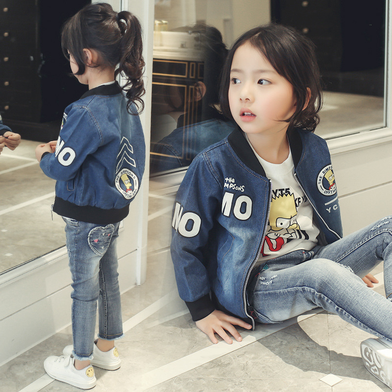 2017 Children Clothing Girls Spring Denim Jacket Blue Print Cartoon Outerwear Coat Big Girls Coat Long