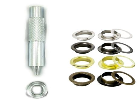100 zestawów 1/2 '' 12mm oczka przelotki + jedno narzędzie do szycia na płótnie Skóra samoobsługowa srebrne złoto pistolet czarny brąz Wybór koloru