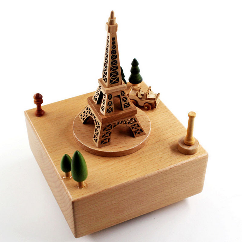 1 Piece Wood Eiffel Tower Music Ofbox Toys For Children The City Of The Sky Meet Wind Up Toy Clockwork Birthday Gifts For Kids