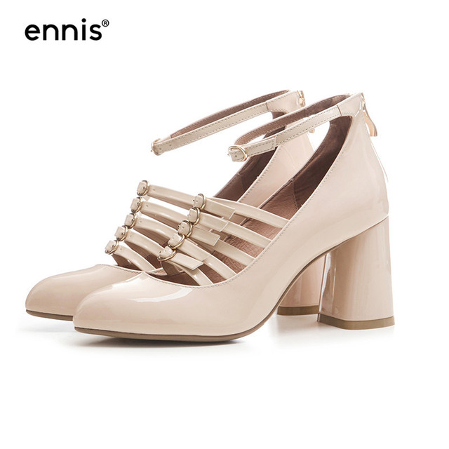 5cdfee378af ENNIS 2018 Cutout High Heel Sexy Pumps Ankle Strappy Heels Women Beige  Wedding Shoes Round Toe Patent Leather Buckle Shoes P813