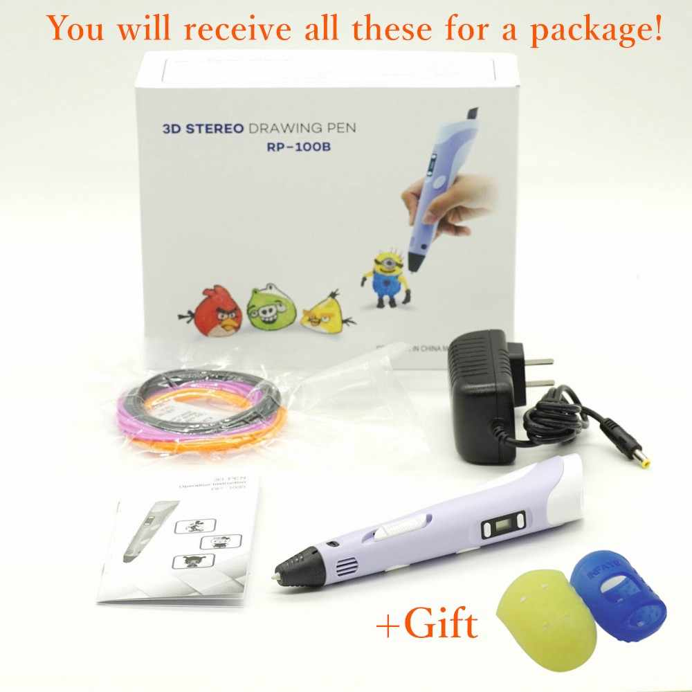 "3D עט שרבוט 9 מטרים PLA נימה 3D מדפסת עט יום הולדת מתנה 1.75 מ""מ ABS 3D הדפסת עט לבית הספר lapiz 3D גאדג 'ט RP100B"