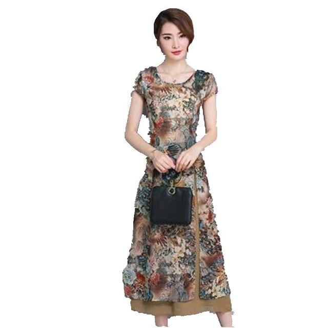 f5997517c1b 2017 Fashion women clothing new summer dress elegant printed pure silk  joining together high-grade slim Long dress OK153