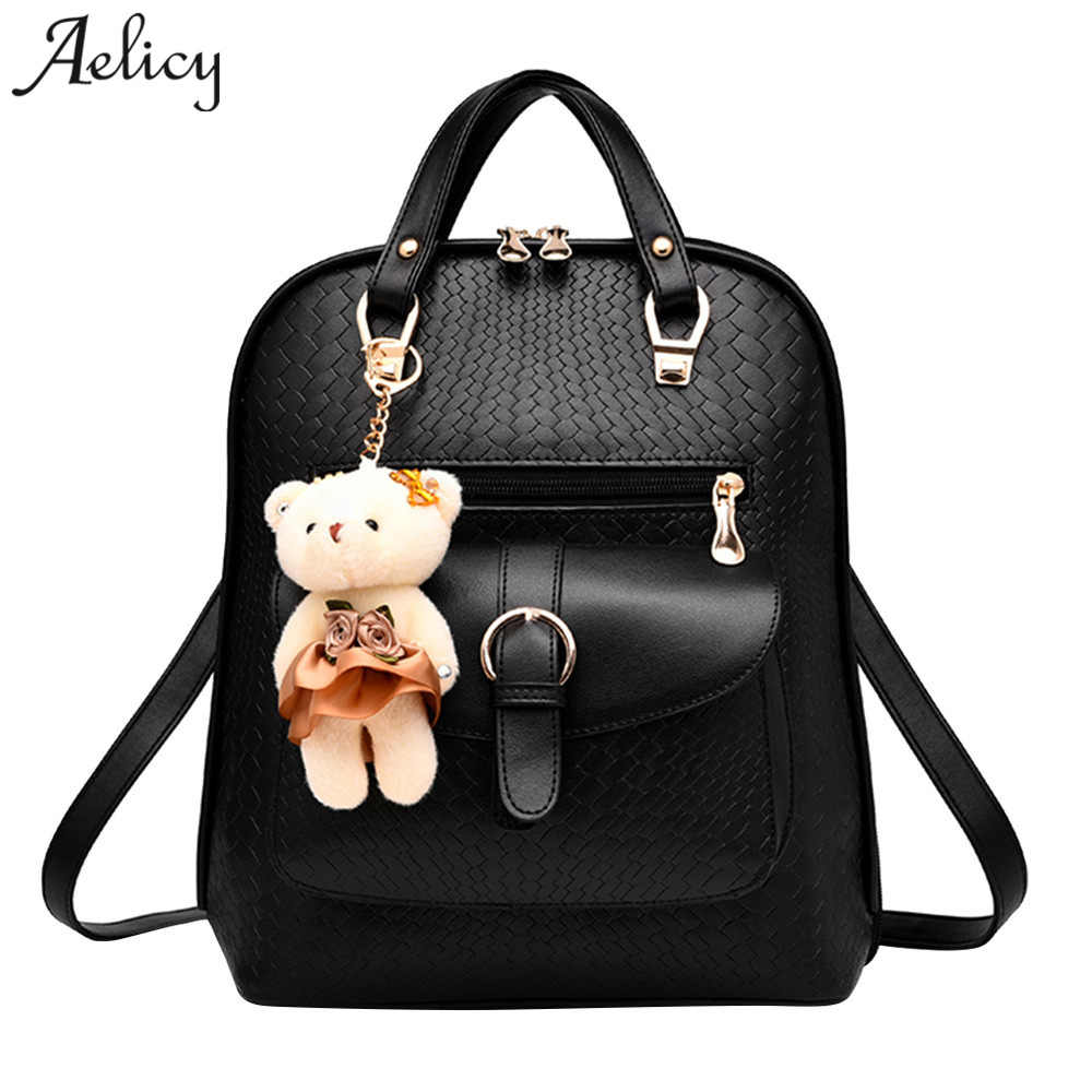 Aelicy Luxury Fashion Cute Backpack Women PU Leather Women Backpack Fashion Korean Bear Ornaments School Bags Teenager Girls