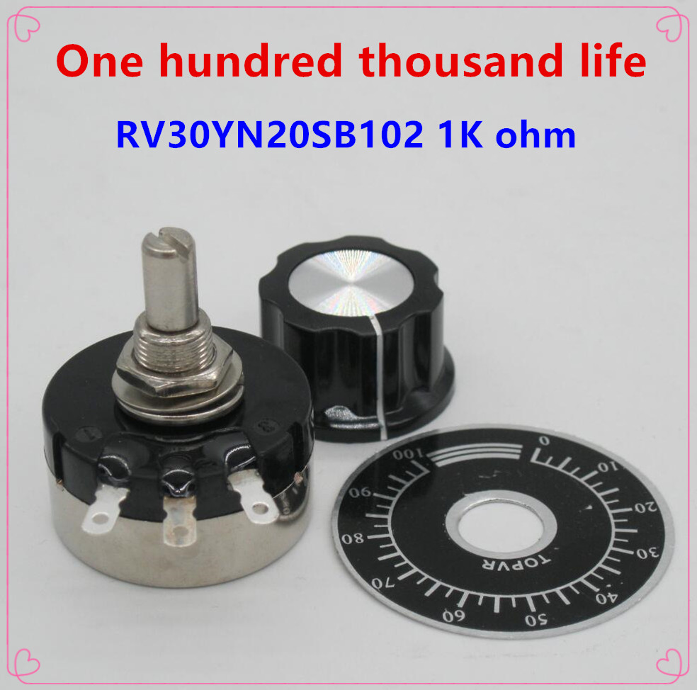 1k Ohm Adjustable Resistance Of Single Ring Carbon Film Potentiometer 2pcs A03 Knob 2pcs Rv30yn20s B102 3w 2pcs Dials Supplement The Vital Energy And Nourish Yin