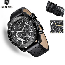 цены BENYAR 2019 New Men's Watches Top Brand Luxury Watch Men  Quartz Wristwatch Mens Waterproof Leather Watch Men Relogio Masculino