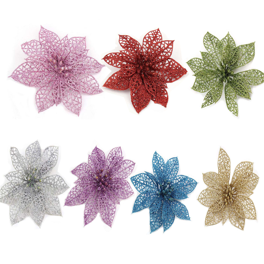 Blue And Green Christmas Tree: Best Decoration For Christmas Tree 13cm Flowers Pink/Red