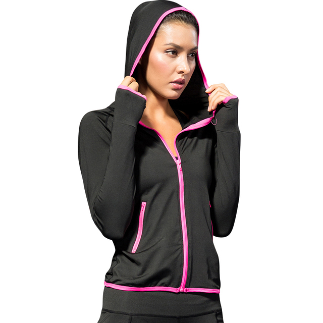 77cf7f06c29273 2018 Women Running Jacket For Women Yoga Zipper Long Sleeve Sport Jacket  Quick Dry Fitness Jogging black Ladies Sports Clothing