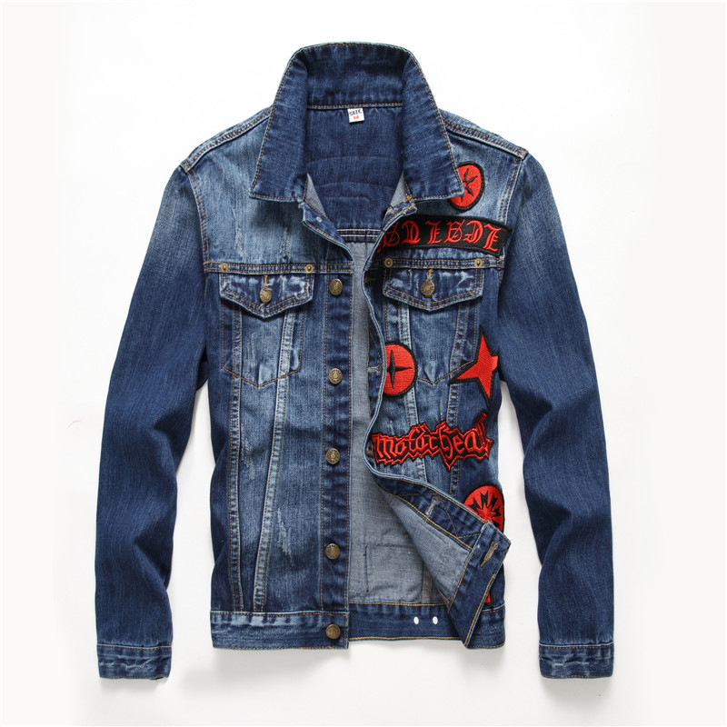 New stylish high quality jean jacket mens slim fit rock hip hop streetwear homme men denim jackets patch badges scratched teen