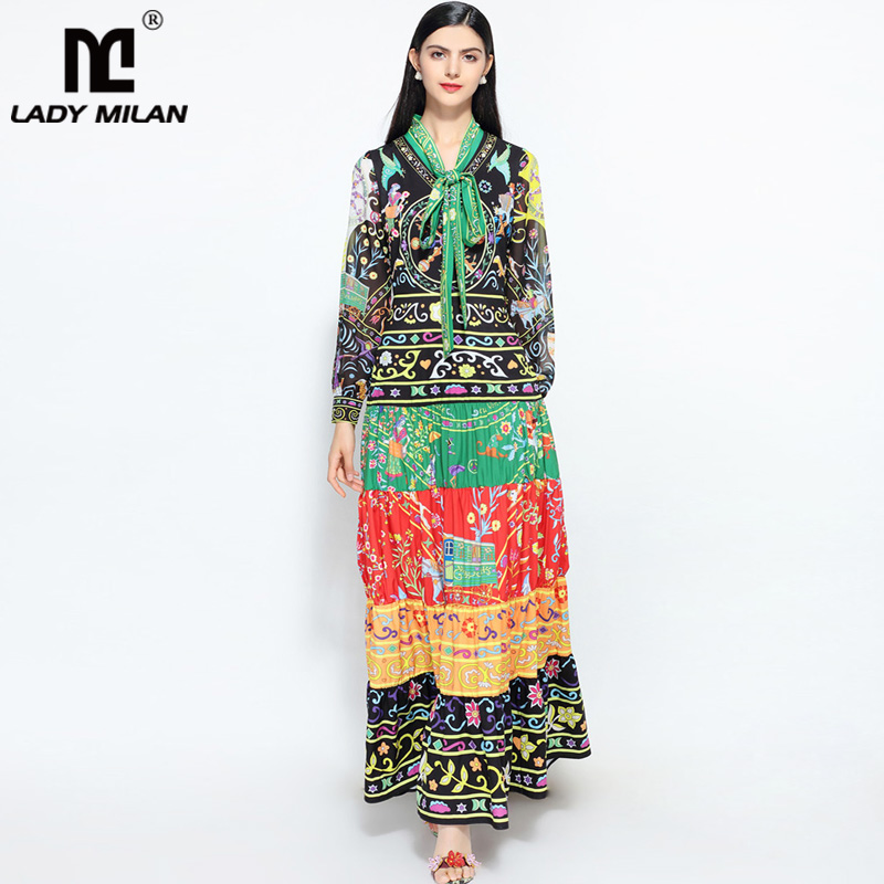 New Arrival Womens Bow Detailing Long Sleeves Printed Ruched Tiered Fashion Designer Casual Maxi Long Runway Dresses