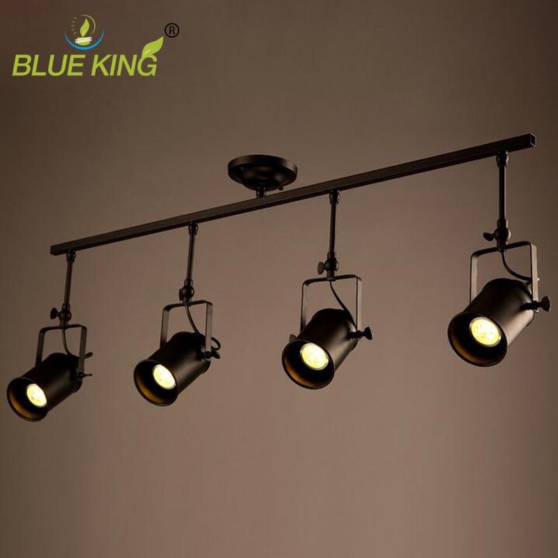 Vintage Ceiling Lights LED Black Iron Ceiling Lamp Industrial clothing Track Lamp retro rail potlights luminaria Fixture Light a1 track led ceiling lights iron