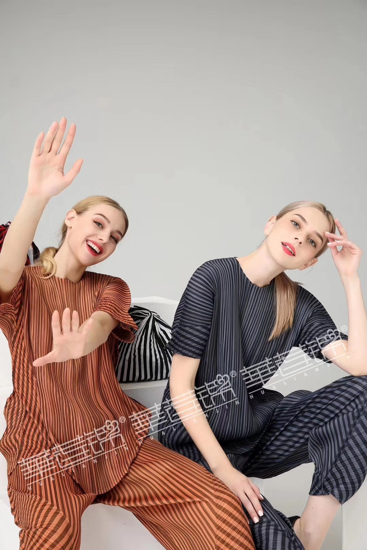 En Ensemble Miyake Stock Legth T Rayé Pantalon Livraison Plier Marron shirt Gratuite Veau Courtes noir Manches 7wPfxBnq