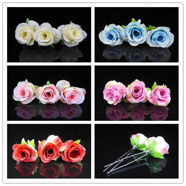 2015 New Fashion 100 Pcs Fabric Bud Rose Flower Hair Clip Hair Pins Bridal Wedding Hair Flower Studio 5 Colors Free Shipping flower shaped hair clip