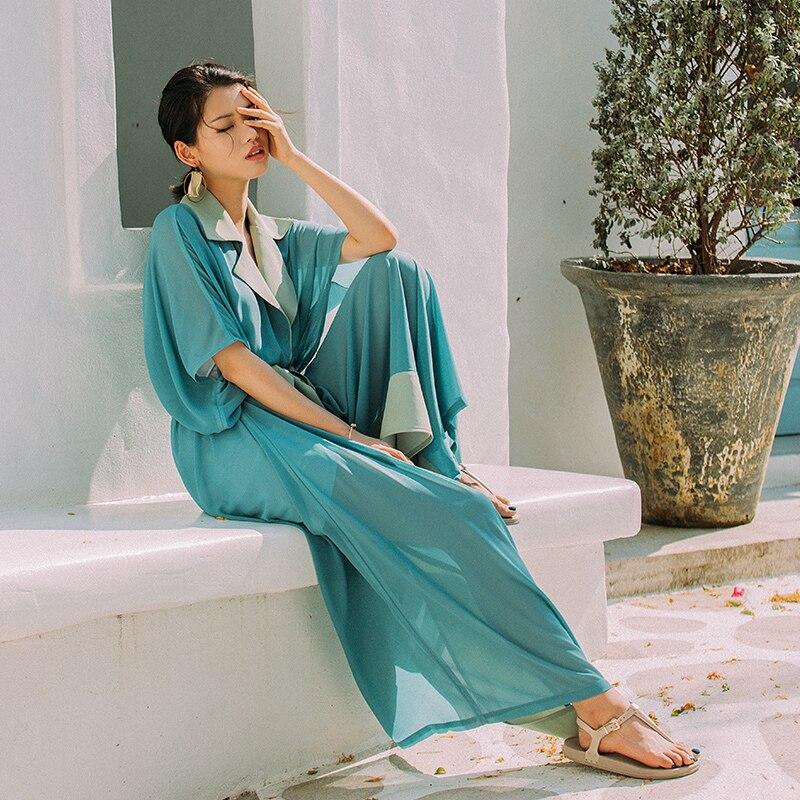 a4bad311772 VERRAGEE Brand Maxi Shirt Dress Women Summer Dress 2018 Chiffon Short  Sleeve Loose Vintage Green Blue Dress Shirt Long With Belt-in Dresses from  Women s ...
