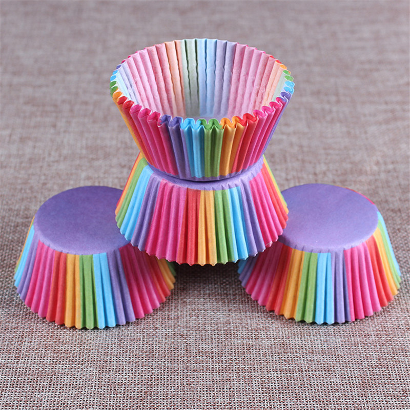 100 Pcs Rainbow Cupcake Paper Liners Muffin Cases Cup Cake Baking Egg Tarts Tray Kitchen