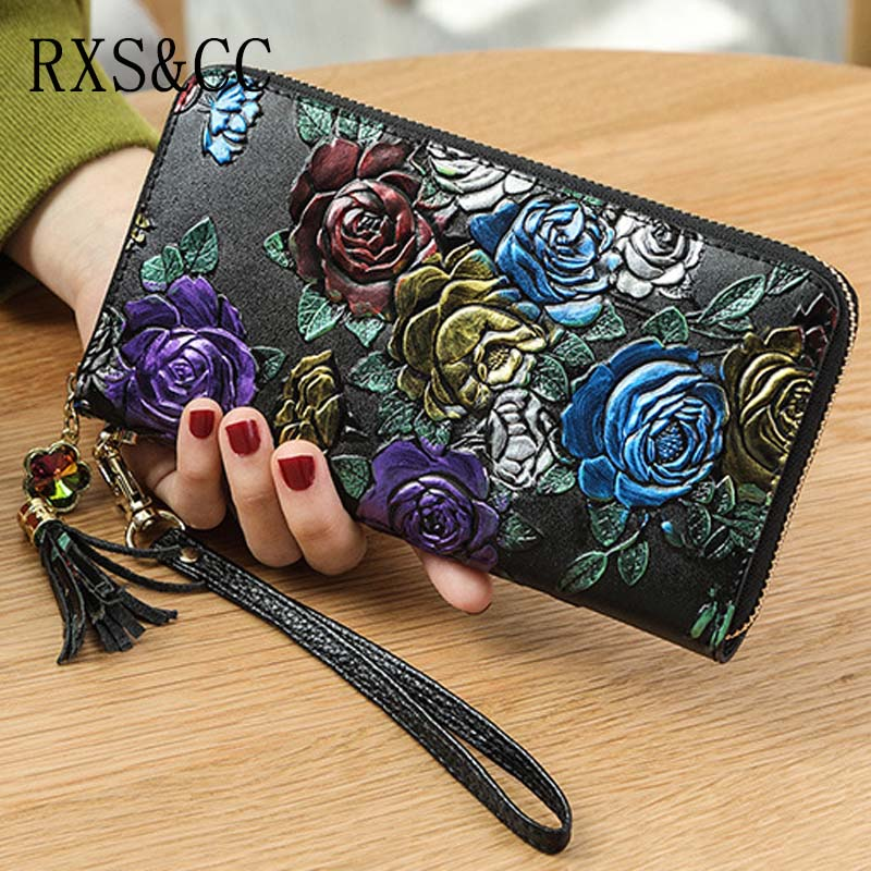RXS&CC New Purse Ms. Ethnic Style Leather Long Clutch Clutch Tassel Zipper Large Capacity Cardholder Cardholder Wallet ...