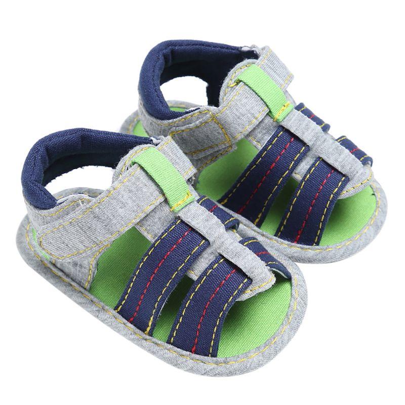 2017 Summer Baby Fritid Prewalker Soft Sole Striped Beach Sko Baby Boys Soft Sandals