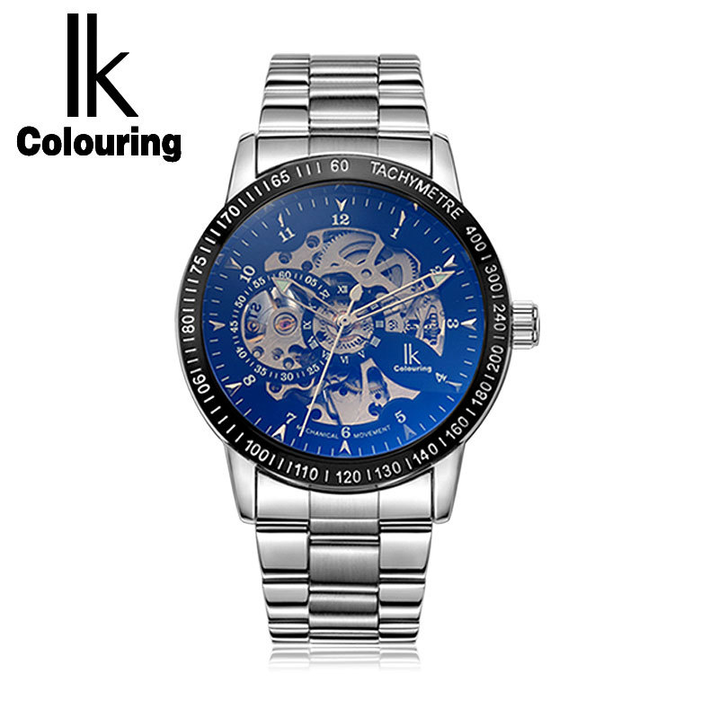 Ik Colouring Multi Colors Luxury Stainless Steel Automatic Skeleton Self-wind Wristwatch Hollow Men's Watches k colouring women ladies automatic self wind watch hollow skeleton mechanical wristwatch for gift box
