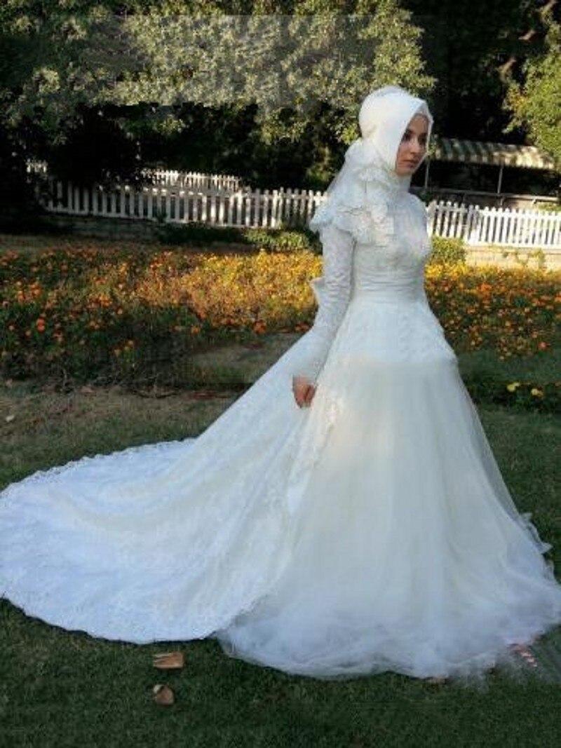 Romántico musulmana vestidos novia 2015 Dubai árabe de encaje ...