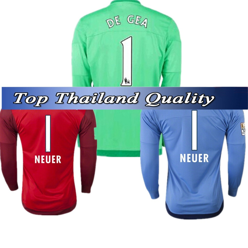 new concept df19d ececa 2015 germany 1 neuer home green soccer long jersey