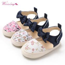 Прекрасный цветочный принт лук детские холщовые ботиночки летняя мягкая подошва обувь вечерние для малышей вечеринки принцессы девочек