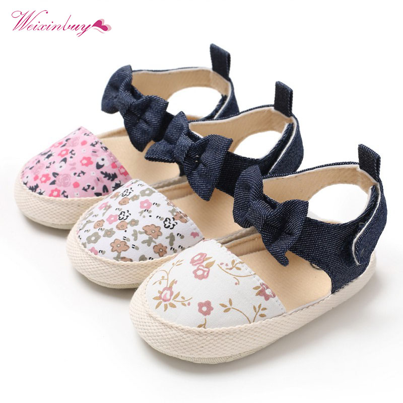 Lovely Flower Print Bow Canvas Baby Shoes Summer Soft Sole First Walkers Party Princess Girl Shoe