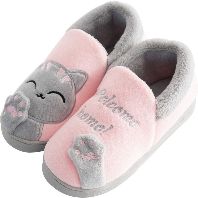 985170b428fb Women Slippers Female Soft Plush Cotton Cute Cat Slippers Shoes Warm Booties  Indoor Room Home Fluffy Furry Lover Couple Shoes