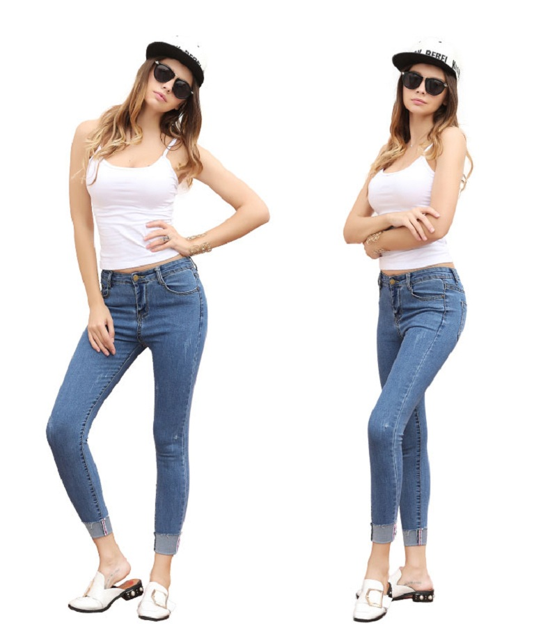 2018 New Self cultivation Pencil Pants Elastic Jeans Thin