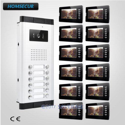 HOMSECUR 7 TFT LCD Wired Multi Apartment Video Door Intercom System+Dual-way Intercom For Secure Home
