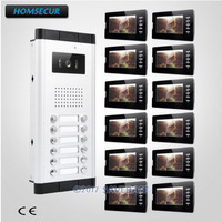 HOMSECUR 7 TFT LCD Wired Multi Apartment Video Door Intercom System Dual Way Intercom For Secure