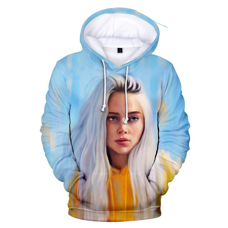 KPOP Billie Eilish 3D Hoodie Women Men Harajuku Sweatshirts Winter Fashion Hip Hop Pullover Hooded Jacket Coat Femael Streetwear