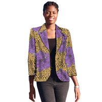 African Blazer For Women Fashion Ankara Blazer Three Quarter Sleeve Printed Suit Jacket Outwear Outfits Lady Dashiki Clothes