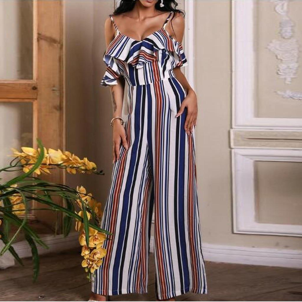 YONGM Women Fashion Wide Leg Jumpsuit Off Shoulder Ruffle Elegant Jumpsuit