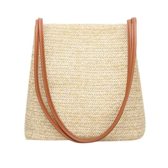 2018 Summer Women Durable Weave Straw Beach Bags Feminine Linen Woven  Bucket Bag Grass Casual Tote Handbags Knitting Rattan BagC 30e422214d9bc