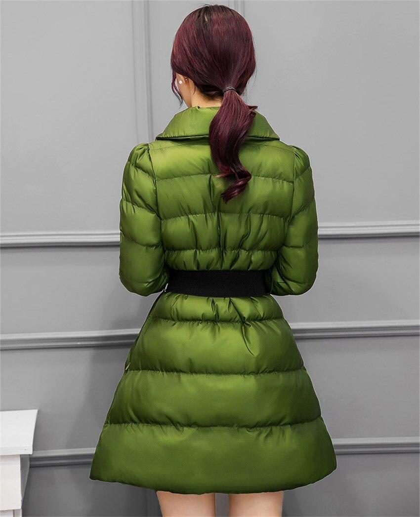 pourpre Manteau Veste Parkas Épais rouge Coton Noir Ceinture Longue Survêtement Manteaux Femmes Mince Chaud Avec Mi D'hiver Élégant Décontracté vert xBdCeorW
