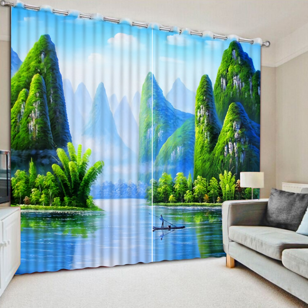 Green window curtains promotion shop for promotional green for B q living room curtains