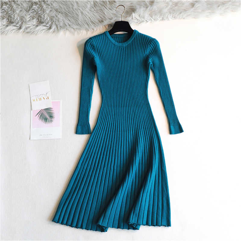 2019 Woman elegant  Autumn Winter sweater Dress Solid Women long Thick Dress Sweater Full Sleeve long A-Line robe Knit Dress