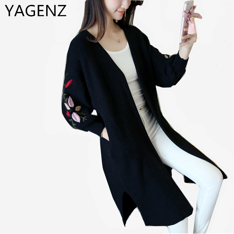 YAGENZ Hot Sale New Women Spring Knit Cardigan Coat 2017 Korean Loose V Neck Lantern Sleeves Sweater Female Coat Plus size S-XL