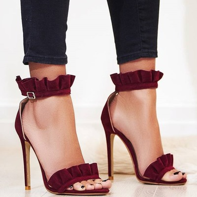 Women Solid Color Wine Red Ruffles Decoration Hollow Out Sandals Ankle Buckle Strap High Thin Heel Party Shoes High Quality купить в Москве 2019