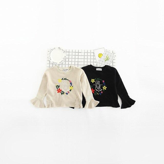 2017 Girls Sweatshirts Flare Sleeve Hoodie for Girls Embroidery Girls Hoodies Baby Girl Sweatshirt  Pullover Girls Clothing