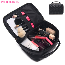 Wholikes Brand 2017 Fashion Leather Women Cosmetic Bag Beautician Professional Makeup Bag Travel Organizer Cosmetics Make Up Bag