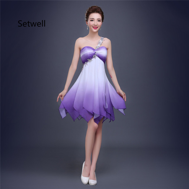 Setwell Simple Colorful Short Prom Dresses Sequin One Shoulder Lace ...