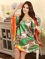 Plus Size Moda Feminina Rayon Roupão de Banho Vestido de Projeto Impresso Mulheres Camisola Camisola de Verão Pijama Mujer Zh789H