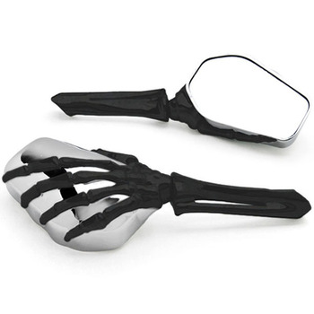 Free Shipping Black/Chrome Skeleton Hand Motorcycle Mirrors For Honda VT Shadow Ace Classic 500 700 750 1100