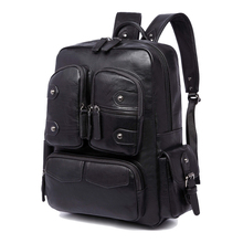 2017 NEW Fashion Boy Men Business Casual USB Preppy Backpack for School Soft Black PU Leather Male Shoulder Bags Men's Backpack